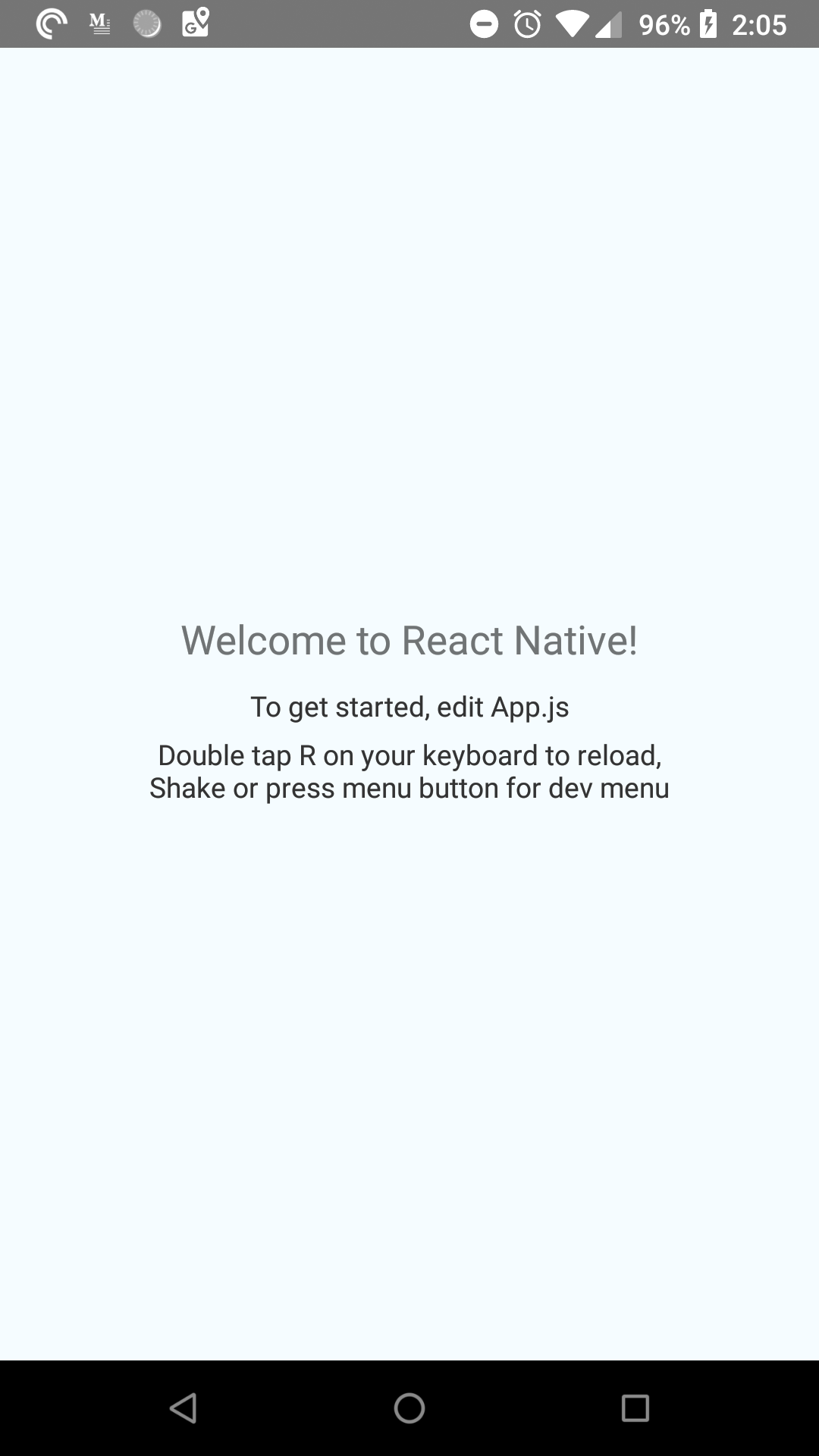 What a default React Native App looks like